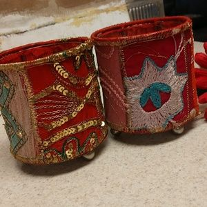 Set of Indian Sari candle holders w/liners